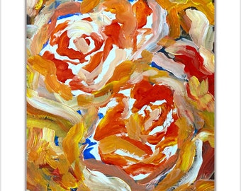Original Acrylic Painting on Paper, Yellow Roses with Red Orange and BLUE Florals flower