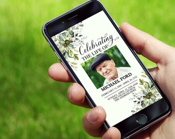 Electronic Funeral Invite Template, Funeral Announcement,Funeral Electronic Invitation for Smartphones, Electronic Celebration of Life F1