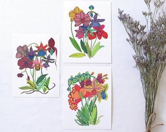 4 Cards 2 Styles Craft Vintage Playing Cards Plays Caspari Karen Fjord Kjaersgaard Swap Orchids