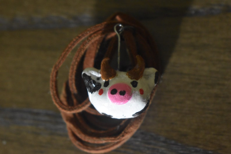 clay cow head charm homemade necklace