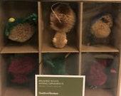 New Smith Hawken Brushed Wood Animal Ornaments (6) - SO DARN CUTE