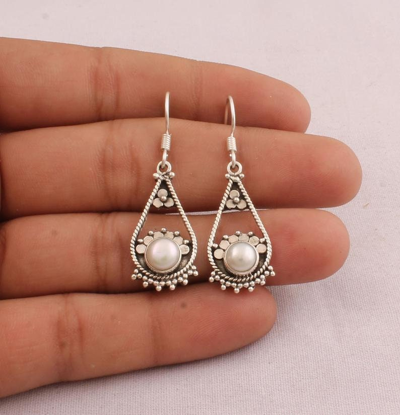 925 Sterling Silver White Round Top Quality Gemstone Gift For love one, Witchy Jewelry Pearl Dangle Earrings For Women Bridal Earring