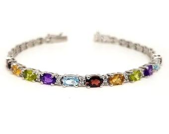 Multi color bracelet, Silver bracelet, 925 sterling silver multi gemstone bracelet, Silver jewelry, Sterling silver, Engagement jewelry,