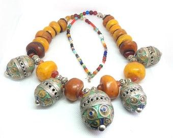 Amazigh Berber Lion/'s Paw Indigo Woodburned Moroccan Necklace