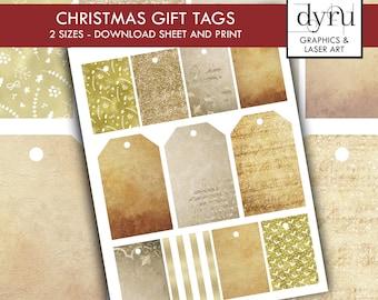 Gold,Glitter, Plain Christmas Gift Tag Printables, Festive Tags, Printable Gift Tag Sheet, Minimalistic Gift Tag, December printable designs