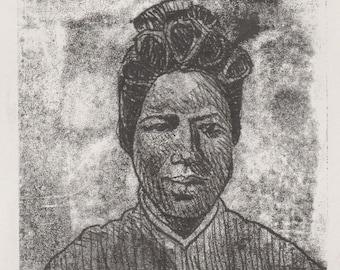 "St. Josephine Bakhita |Original monotype print | Print size 4"" x 6 "" inch | Mount size 8"" x 10"" inch"