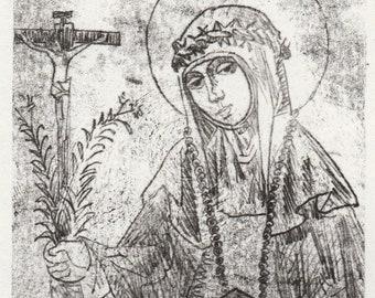 "St. Catherine of Siena | Original monotype print | print size 4"" x 6 "" inch | mount size 8"" x 10"" inch"