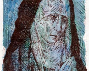 "Mater Dolorosa after Dirk Boults | Original artwork mixed media on paper | 18 cm x 13 cm ( 7"" x 5"") | mounted size 25 cm x 20 cm (10"" x 8""))"
