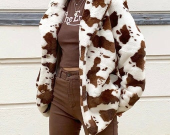 90s Fuzzy Brown Cow Print Coat Small 1990s Jacket