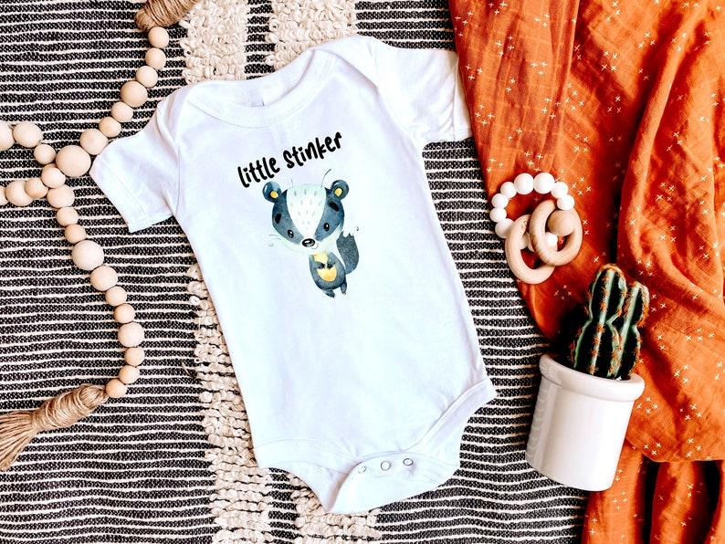 Cute Unisex Animal Baby Bodysuit Little Stinker Skunk Baby Bodysuit