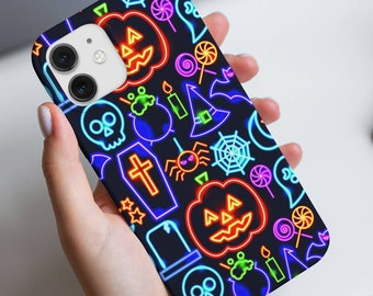 Cute Neon Halloween Phone Case | Spooky Fall Pumpkin Iphone Case | Skull Coffin Samsung Case | Witchy Google Pixel | Occult Galaxy Note