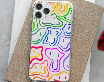 Cute Rainbow Smiley Face Clear Phone Case | Retro Y2K Indie Happy Face Aesthetic Iphone Case | Line Art | Transparent | Abstract | Funky