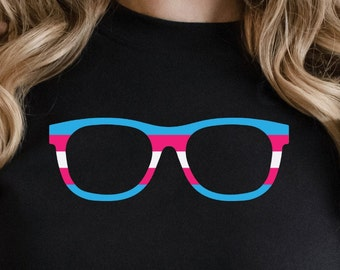 Trans Nerd Glasses Sweatshirt | Protect Trans Youth Long Sleeve Shirt | Rainbow | Gift | Ally | Pride | Cozy | Rights | Gay | LGBT