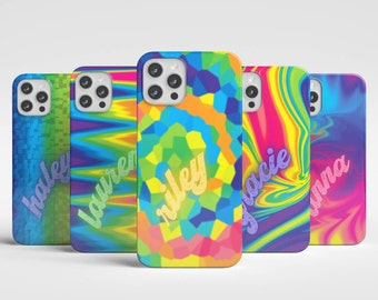 Funky Psychedelic Rainbow Tie Dye Personalized Phone Case | Trendy Name Aesthetic Iphone Case | Initial Hippie Samsung Case | Trippy Pixel