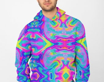 Neon Psychedelic All Over Print Hoodie | Pullover Lsd Acid Sweatshirt | Streetwear Long Sleeve Shirt | Aesthetic | Mens | Trippy | Colorful