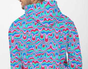 Retro Trippy Groovy Drippy All Over Print Hoodie | AOP Indie Y2K Aesthetic Pullover Sweatshirt | Trendy Abstract Long Sleeve Shirt | VSCO