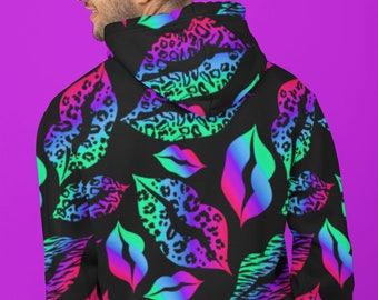 Retro Neon All Over Print Lips Hoodie | Y2K Pullover AOP Sweatshirt | Trendy Aesthetic Long Sleeve Shirt | Cool Rad Hipster