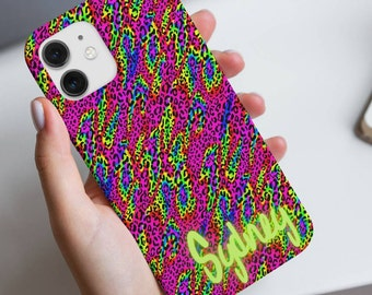 Personalized Neon Colorful Leopard Spot Phone Case | Indie Kidcore Y2K Aesthetic Cheetah Iphone Case | Trendy Animal Print Samsung Case