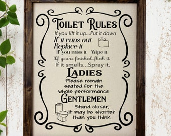 5 x 10 inch Wood Sign Bathroom Rules Gentlemen and Ladies Home Decor