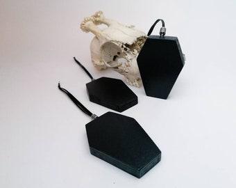 Gothic Dekoration Sarg 3er Pack, Weihnachtsbaumschmuck schwarz mit Silber Perle, Außergewöhnliche Halloweendeko zum hängen