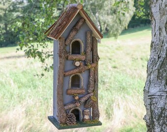 Grey Three Tier Bird House Nesting Box Decorative Birdbox Hanging or Freestanding Garden Accessory