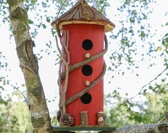 Red Three Tier Bird House Decorative Garden Nesting Box Birdbox Hanging or Freestanding Garden Accessory