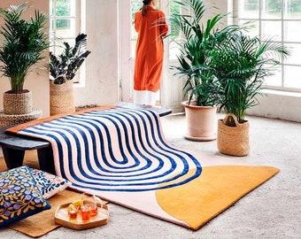 Designer Hand Tufted Wool Area Rug Modern Area Rug Handmade Area Rug Hand Tuft Rugs Morden Rugs Living Room Rugs Bed Vintage Rug