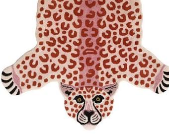 Hand Tufted Pink Leopard Skin Rug Big Cat/Tiger Muted Animal Rug Skin Wall Hanging For Bedroom Guest Room Handwoven Bath Rug Kids Rugs