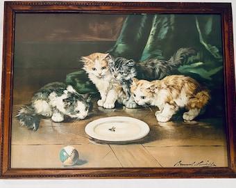 Kittens And Snail Alfred de Neuville Vintage Cute Cat Kitten Postcard Art Print
