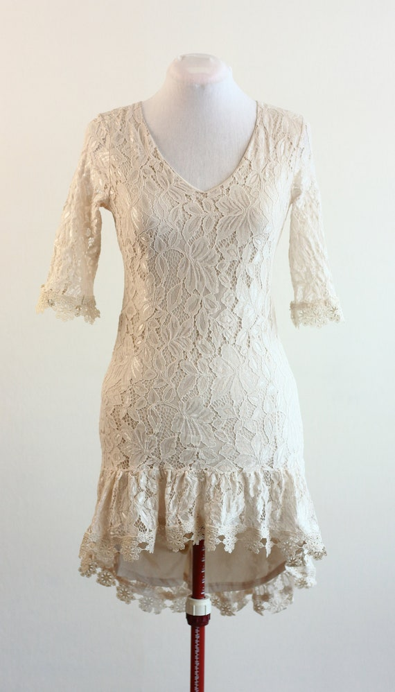 Vintage Off White Lace Tunic