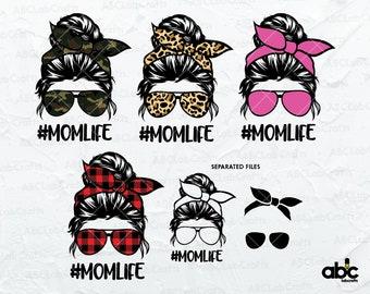 Bundle Mom Life Svg Files | Messy Bun mom Svg |  Mom Life Svg | Momlife Svg | Bun Mom Life Svg | Mom Svg | Gift for Wife Svg