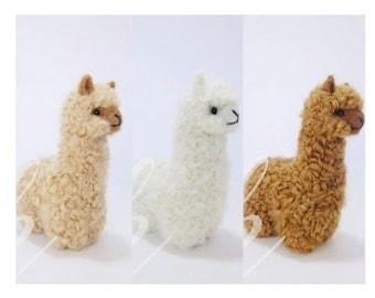 Needle Felted Alpaca Sculptures: Felted Animals by Hand in Alpaca Fiber made in peru 3.5 IN