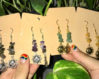 Boho Jewelry Nephrite earrings Sterling silver earrings Healing wire wrapping Gift for her Heady wire wrapped Sterling Silver jewelry