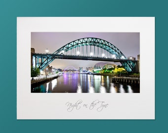 Tyne Bridge at night, Photograph, High quality print, Option of print only, mounted or framed.