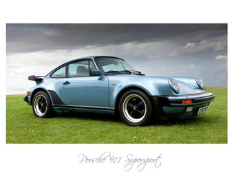 Porsche 911 SuperSport, Photograph, High quality print, Option of print only, mounted or framed. Available in various sizes