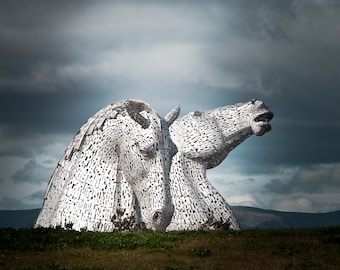 The Kelpies, Horse head sculptures in Scotland, A high quality print, Option of print only, mounted or framed. Available in various sizes