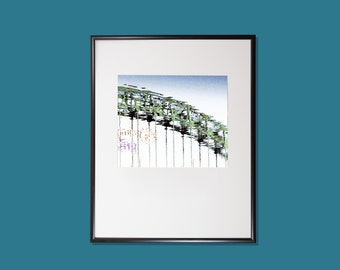 Tyne Bridge reflections on the River Tyne, Stylised & artistic photograph, High quality print, Option of print only, mounted or framed.