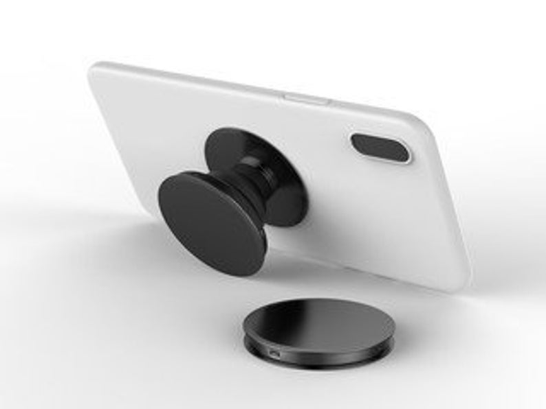 Black phone grip and stand for iphones and androids