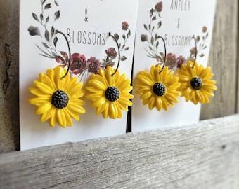 sunflower huggies or dangles
