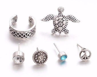 stingray and dolphin Set of 3 auricle conch captive rings with turtle