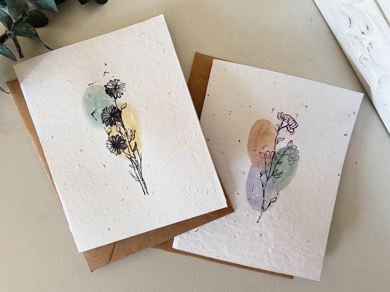 hand painted plantable wildflower seed greeting card blank