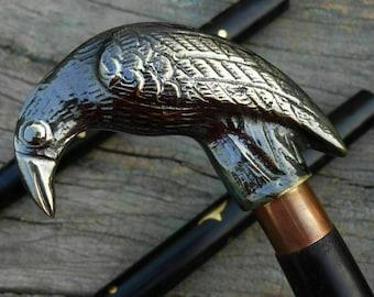 Vintage Brass Walking Stick Raven Handle Nautical Victorian Brass Wooden Cane