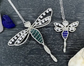 Dragonfly sea glass necklace, sea glass jewellery, blue sea glass pendant, wire wrapped necklace, ocean lovers gift, beach lovers gift
