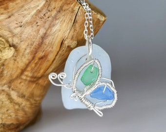 White opalescent,blue&green sea glass necklace wire wrapped butterfly,sea glass jewellery, sea glass pendant, beach glass, ocean lovers gift