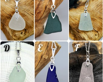 Sterling silver sea glass pendant, white, blue, green, teal, pink sea glass jewellery, gifts for her,beach lovers gift,ocean gift