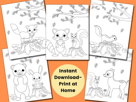 Forest Animal Coloring Pages for Kids Kids Party Games