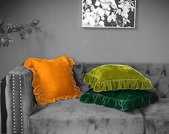 Handmade pillow covers 18 x 18 ~ soft velvet throw pillow ruffle trim ~Invisible Zipper~ velvet cushion cover ~ pillow cover