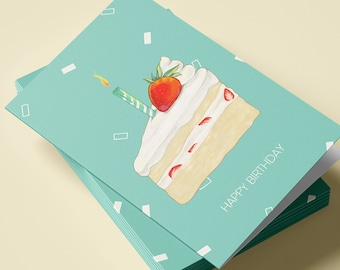 Birthday Card - Strawberry Shortcake Birthday Card with Red Envelope