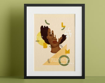 Poster Print - White On Black - Portrait of a Black Woman With Natural Afro