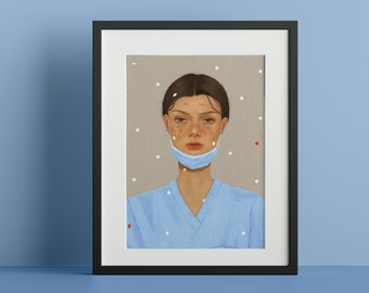 Poster Print - Airborne - Portrait of a Frontline Healthcare Worker During Covid-19